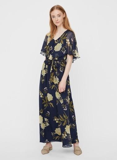 Fabrika Copenhagen Fabrika x Copenhagen Desenli Beli Kemerli Mavi Uzun Elbise Lacivert